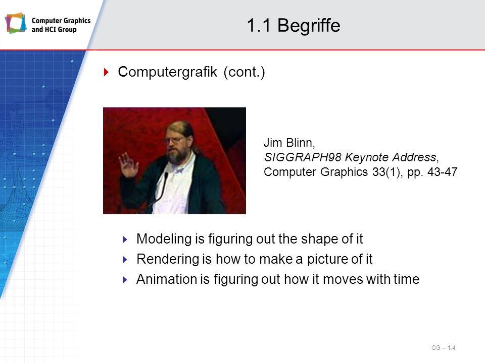 1.6 Rastergrafik – Füllalgorithmen Man unterscheidet nach der Art der Gebietsdefinition: Boundary-Fill-Algorithmus für randdefinierte Gebiete Input: Startpunkt (Saatkorn), Farbe der Begrenzungskurve, Füllfarbe oder Muster Algorithmus: Vom Startpixel ausgehend werden rekursiv Nachbarpixel umgefärbt, bis Pixel mit der Farbe der Begrenzungskurve (oder bereits umgefärbte Pixel) erreicht werden; dann Abbruch CG – 1.65