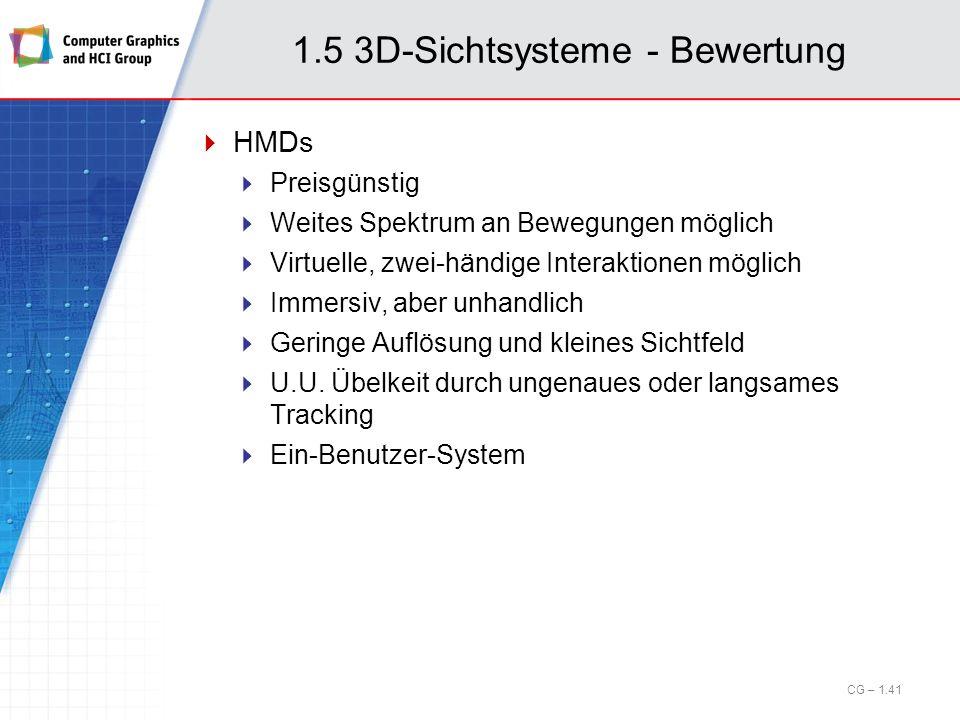 1.5 3D-Sichtsysteme - Bewertung HMDs Preisgünstig Weites Spektrum an Bewegungen möglich Virtuelle, zwei-händige Interaktionen möglich Immersiv, aber u