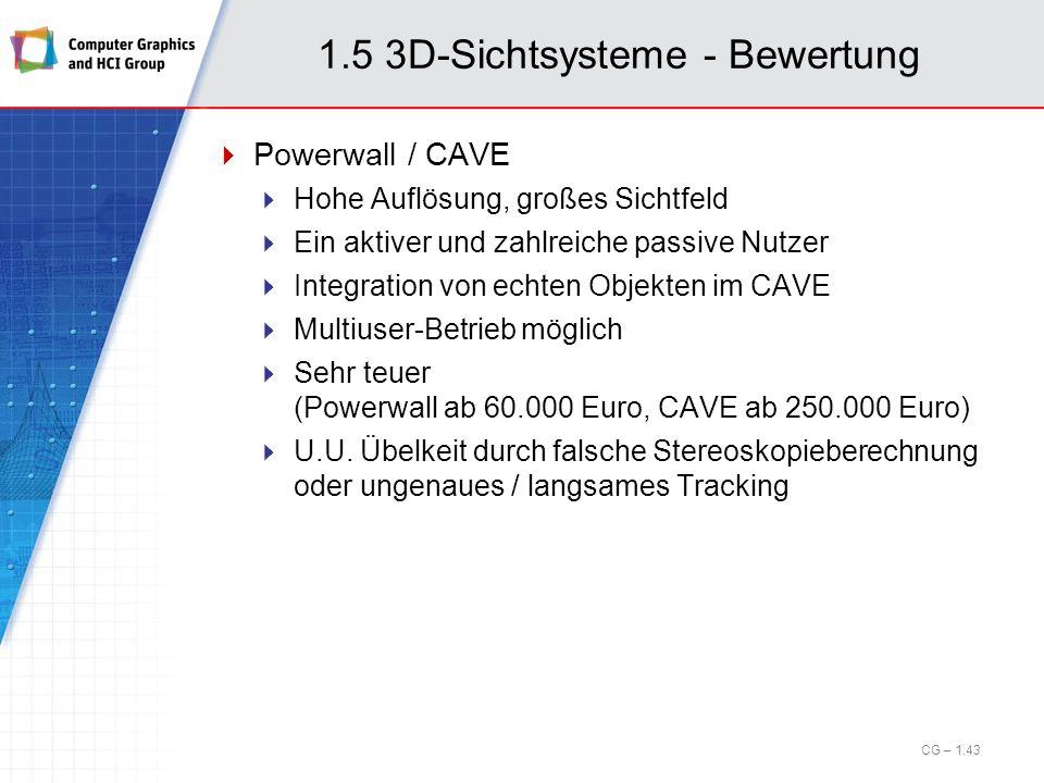 1.5 3D-Sichtsysteme - Bewertung Powerwall / CAVE Hohe Auflösung, großes Sichtfeld Ein aktiver und zahlreiche passive Nutzer Integration von echten Obj
