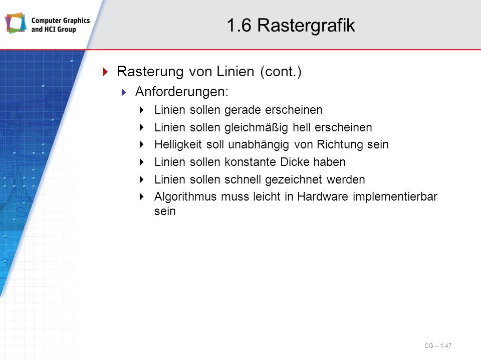 1.6 Rastergrafik Rasterung von Linien (cont.) Anforderungen: Linien sollen gerade erscheinen Linien sollen gleichmäßig hell erscheinen Helligkeit soll