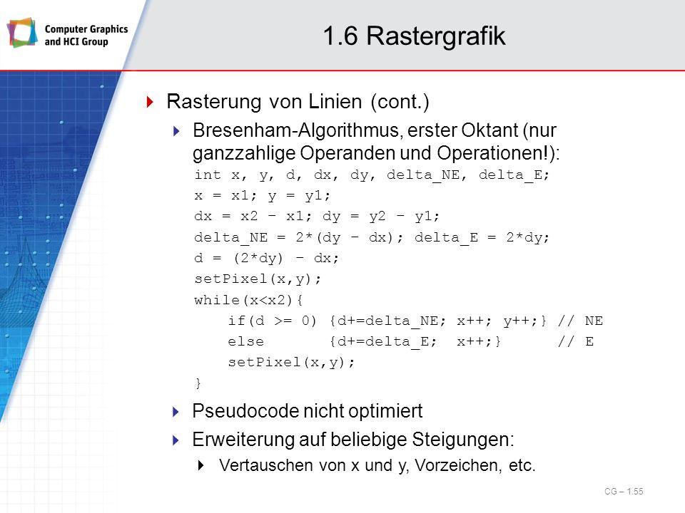 1.6 Rastergrafik Rasterung von Linien (cont.) Bresenham-Algorithmus, erster Oktant (nur ganzzahlige Operanden und Operationen!): int x, y, d, dx, dy,