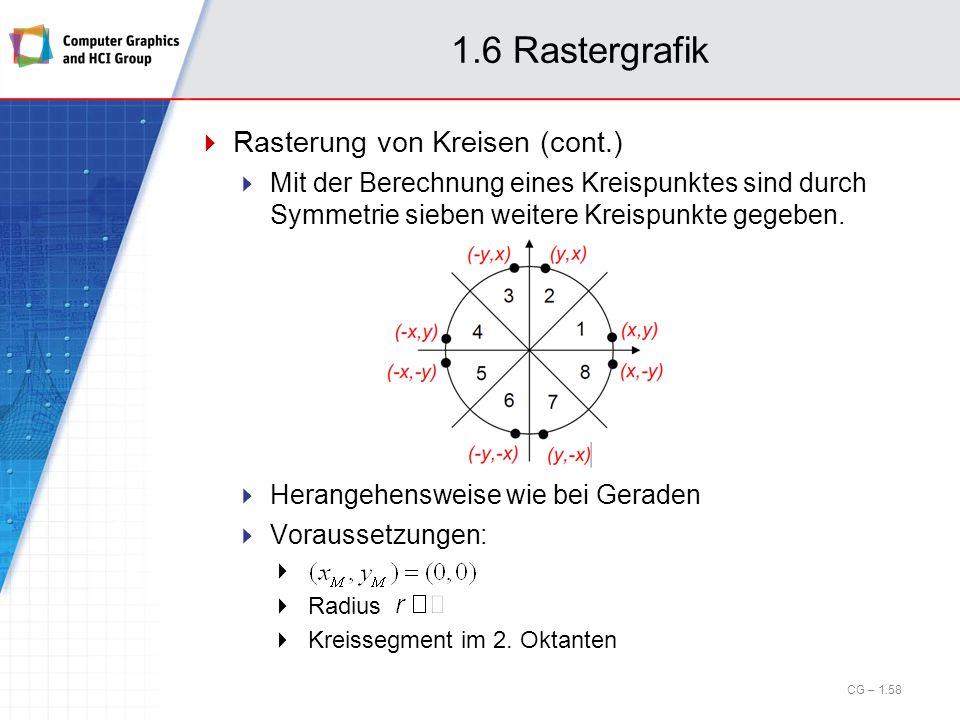 1.6 Rastergrafik Rasterung von Kreisen (cont.) Mit der Berechnung eines Kreispunktes sind durch Symmetrie sieben weitere Kreispunkte gegeben. Herangeh
