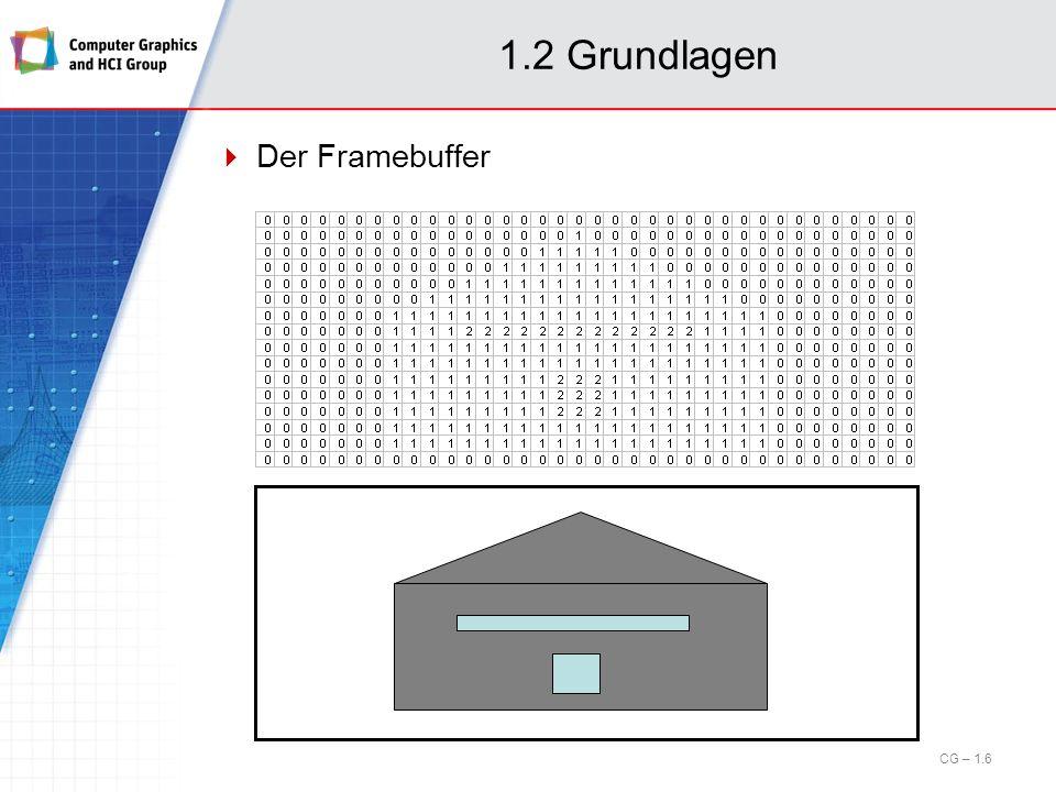 1.6 Rastergrafik Anti-Aliasing (cont.) Abhilfe: (korrekte) Berechnung der überdeckten Fläche im Pixel.