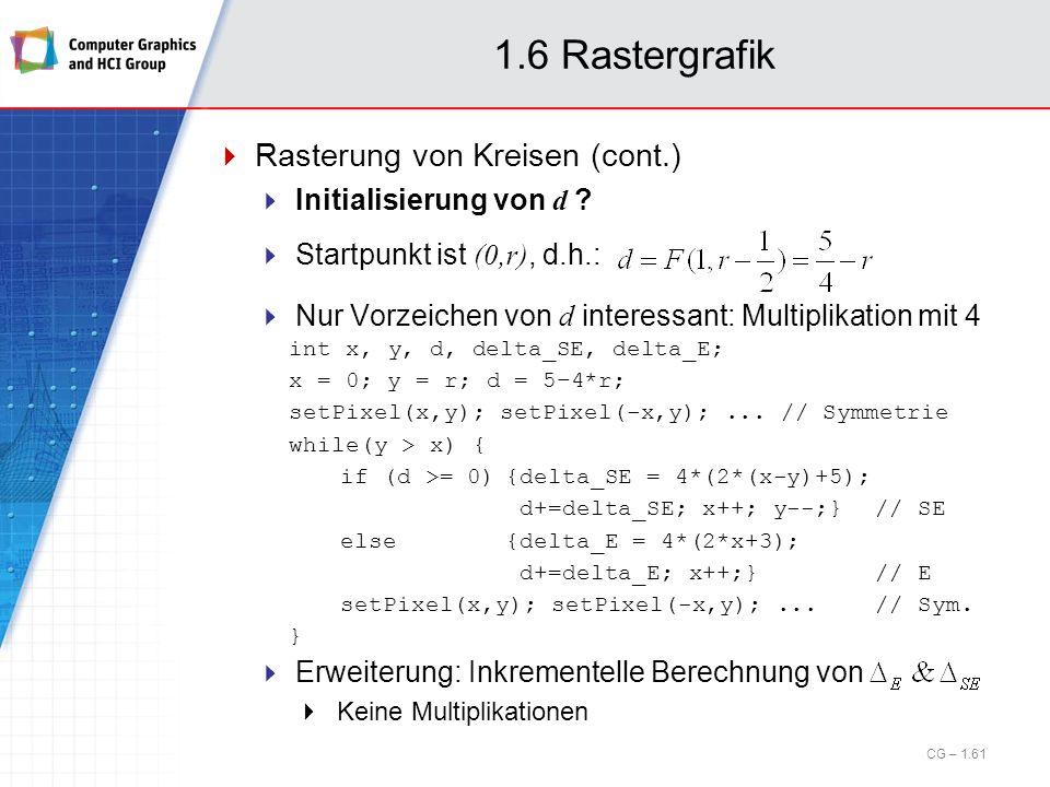 1.6 Rastergrafik Rasterung von Kreisen (cont.) Initialisierung von d ? Startpunkt ist (0,r), d.h.: Nur Vorzeichen von d interessant: Multiplikation mi