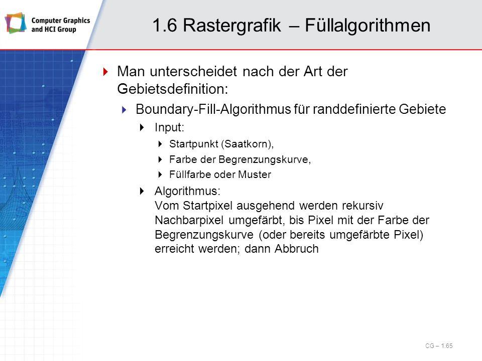 1.6 Rastergrafik – Füllalgorithmen Man unterscheidet nach der Art der Gebietsdefinition: Boundary-Fill-Algorithmus für randdefinierte Gebiete Input: S