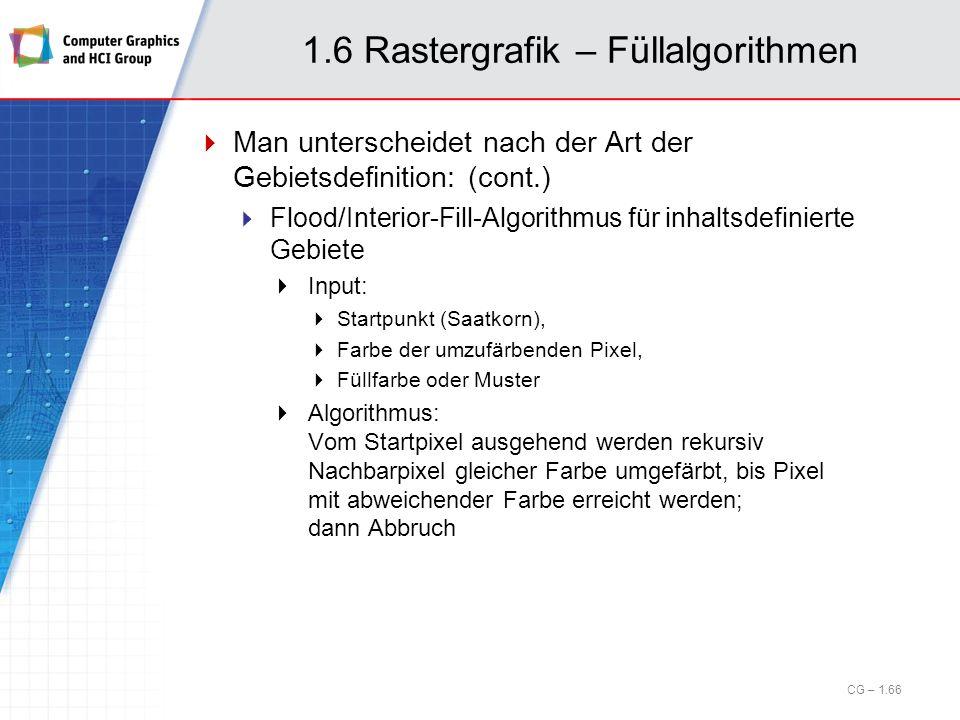 1.6 Rastergrafik – Füllalgorithmen Man unterscheidet nach der Art der Gebietsdefinition: (cont.) Flood/Interior-Fill-Algorithmus für inhaltsdefinierte