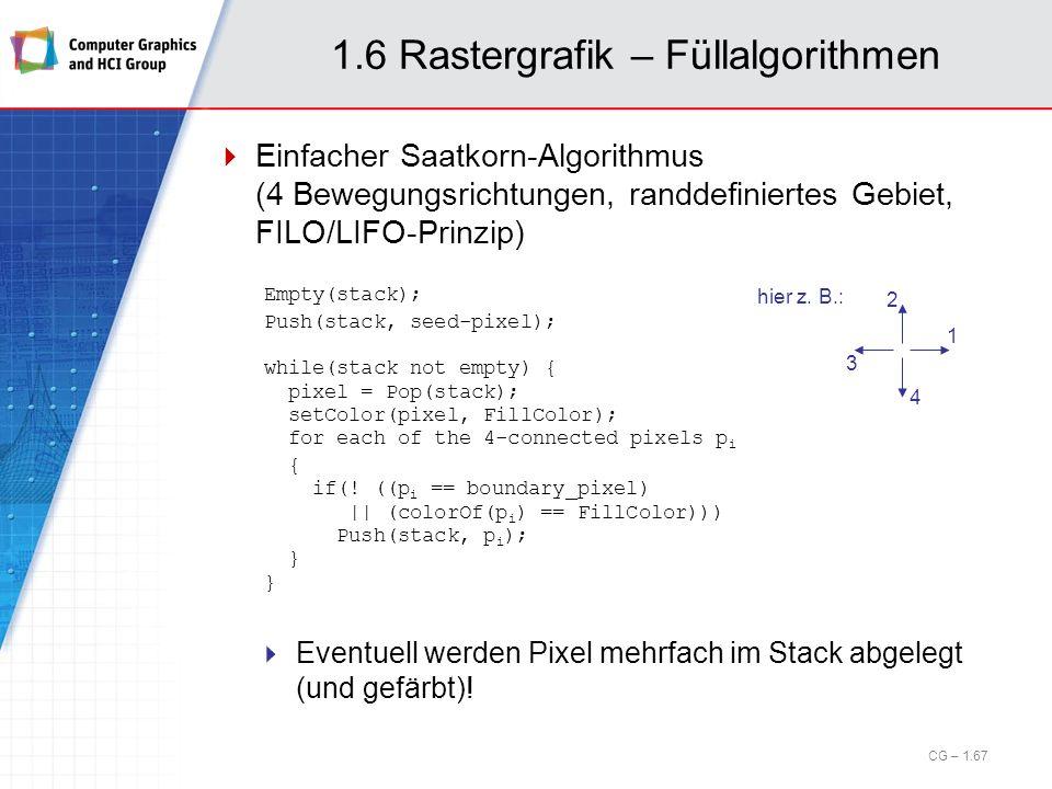 1.6 Rastergrafik – Füllalgorithmen Einfacher Saatkorn-Algorithmus (4 Bewegungsrichtungen, randdefiniertes Gebiet, FILO/LIFO-Prinzip) Eventuell werden