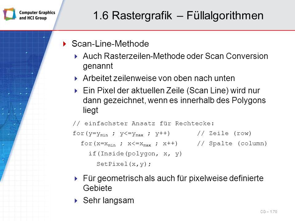 1.6 Rastergrafik – Füllalgorithmen Scan-Line-Methode Auch Rasterzeilen-Methode oder Scan Conversion genannt Arbeitet zeilenweise von oben nach unten E