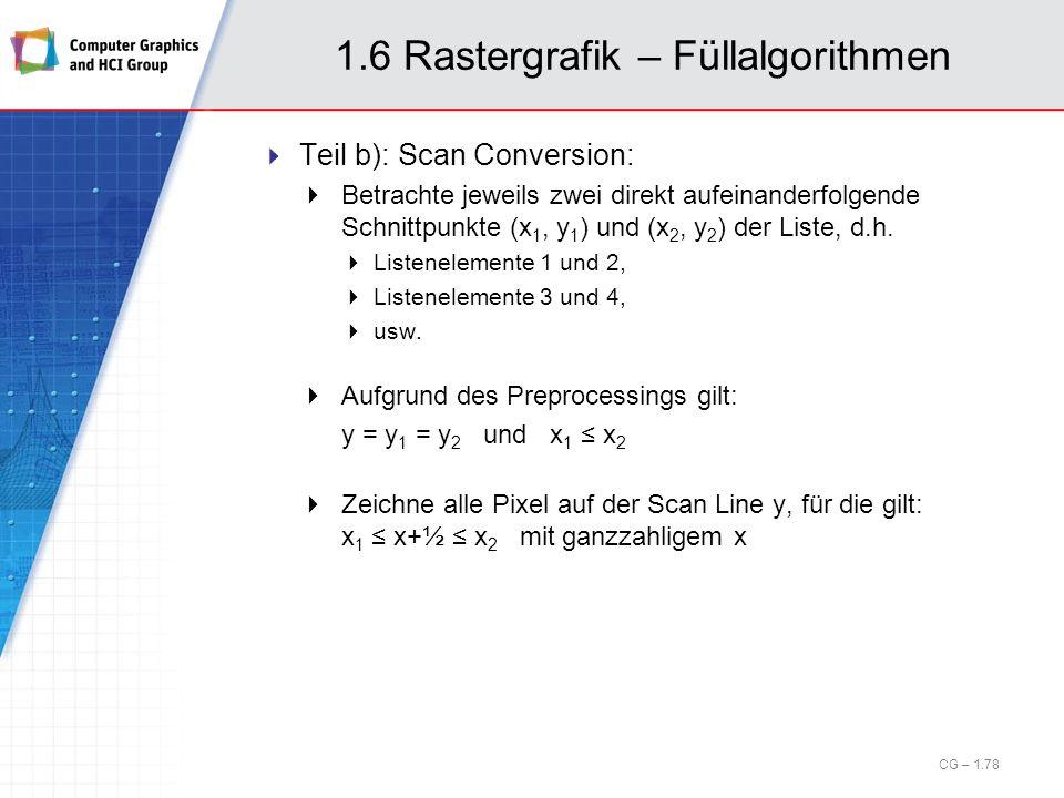1.6 Rastergrafik – Füllalgorithmen Teil b): Scan Conversion: Betrachte jeweils zwei direkt aufeinanderfolgende Schnittpunkte (x 1, y 1 ) und (x 2, y 2
