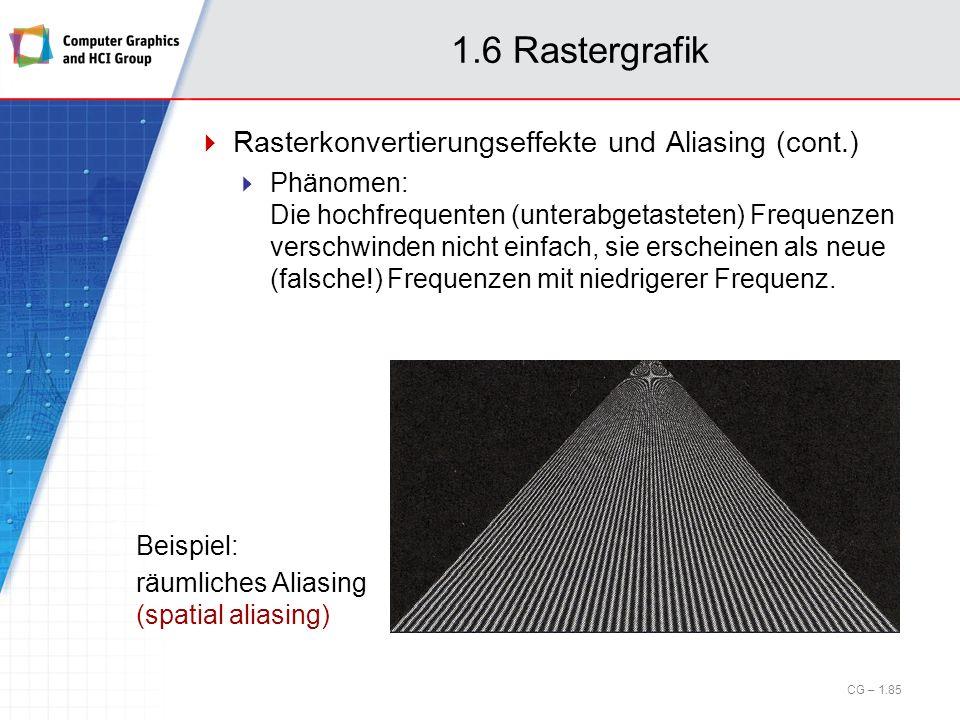 1.6 Rastergrafik Rasterkonvertierungseffekte und Aliasing (cont.) Phänomen: Die hochfrequenten (unterabgetasteten) Frequenzen verschwinden nicht einfa