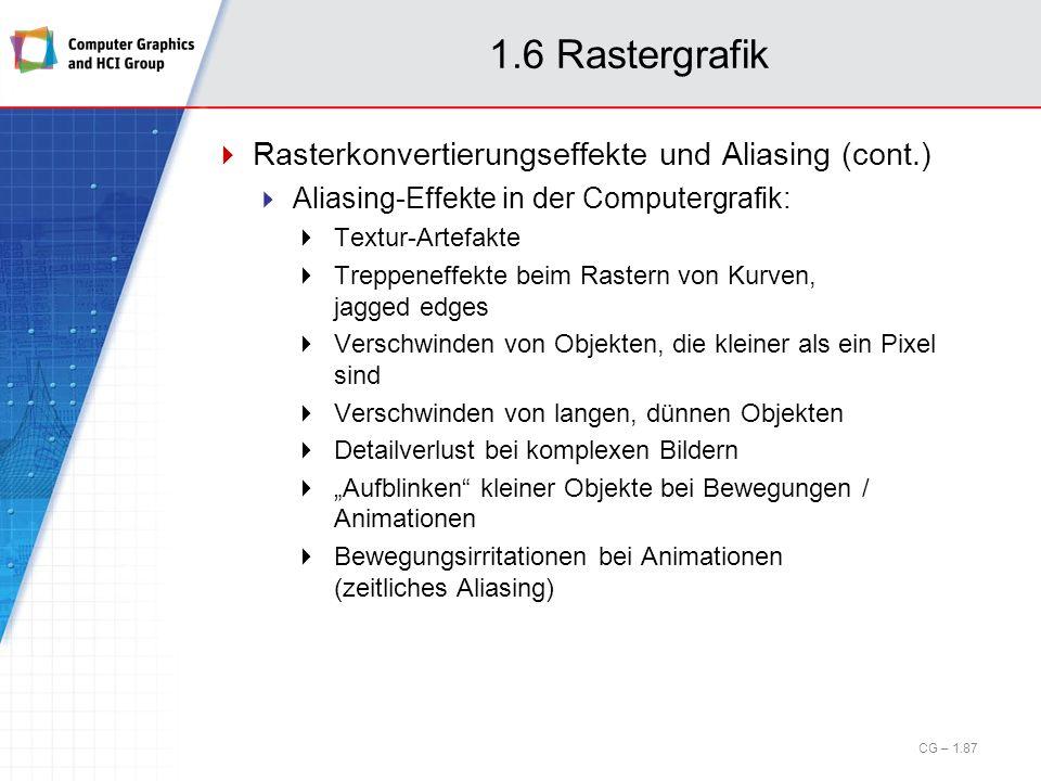 1.6 Rastergrafik Rasterkonvertierungseffekte und Aliasing (cont.) Aliasing-Effekte in der Computergrafik: Textur-Artefakte Treppeneffekte beim Rastern