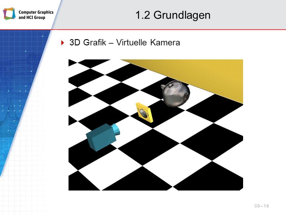 1.6 Rastergrafik Rasterkonvertierungseffekte und Aliasing (cont.) Beispiel: Textur-Artefakte, unendliches Schachbrettmuster visuelle Artefakte, wenn Periodizität in der Textur Größenordnung der Pixel erreicht zweifaches Oversampling (doppelte Frequenz) verringert Artefakte CG – 1.90