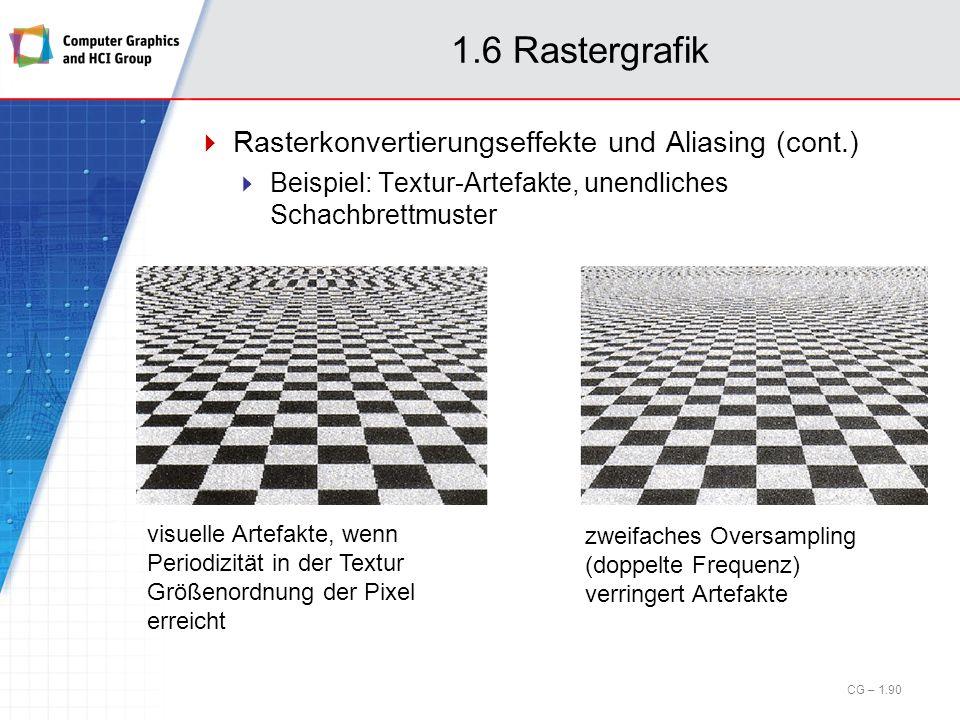 1.6 Rastergrafik Rasterkonvertierungseffekte und Aliasing (cont.) Beispiel: Textur-Artefakte, unendliches Schachbrettmuster visuelle Artefakte, wenn P