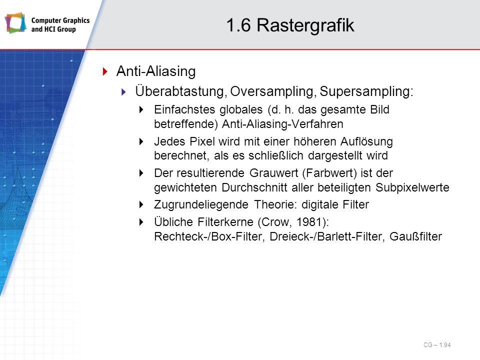 1.6 Rastergrafik Anti-Aliasing Überabtastung, Oversampling, Supersampling: Einfachstes globales (d. h. das gesamte Bild betreffende) Anti-Aliasing-Ver