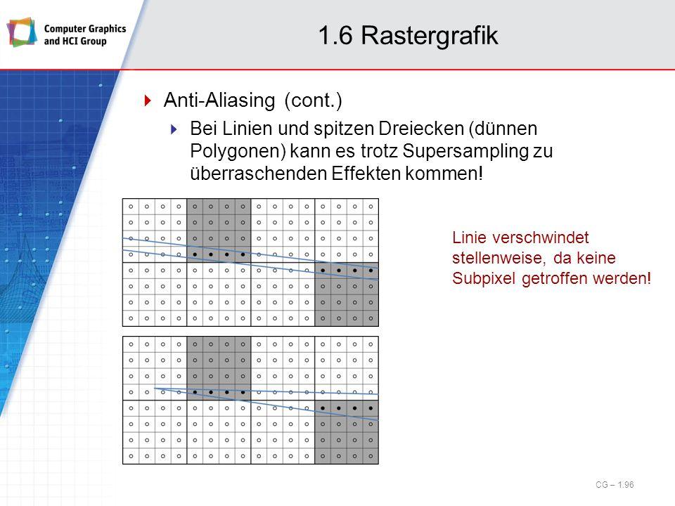 1.6 Rastergrafik Anti-Aliasing (cont.) Bei Linien und spitzen Dreiecken (dünnen Polygonen) kann es trotz Supersampling zu überraschenden Effekten komm