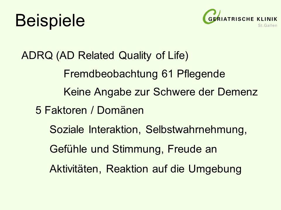 ADRQ (AD Related Quality of Life) Fremdbeobachtung 61 Pflegende Keine Angabe zur Schwere der Demenz 5 Faktoren / Domänen Soziale Interaktion, Selbstwa