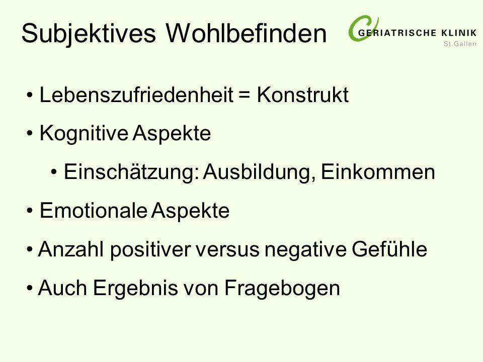 Subjektives Wohlbefinden Lebenszufriedenheit = Konstrukt Kognitive Aspekte Einschätzung: Ausbildung, Einkommen Emotionale Aspekte Anzahl positiver ver