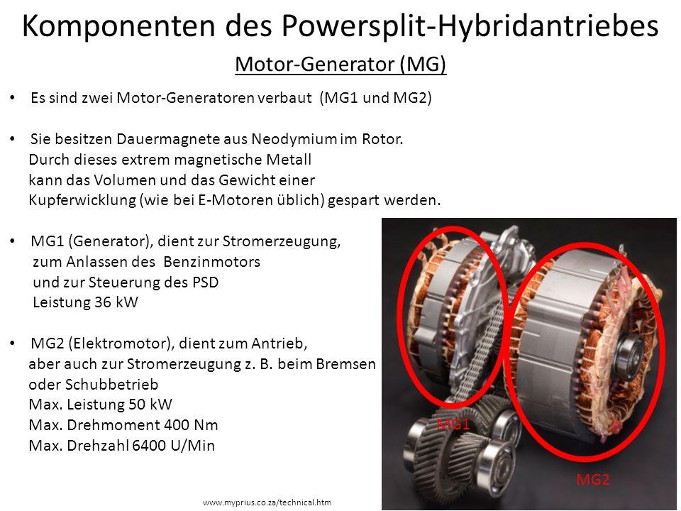 Komponenten des Powersplit-Hybridantriebes Motor-Generator (MG) Es sind zwei Motor-Generatoren verbaut (MG1 und MG2) Sie besitzen Dauermagnete aus Neo