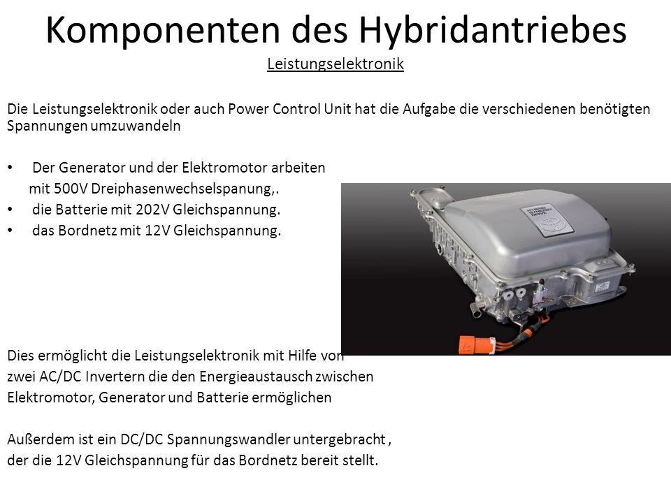 Komponenten des Hybridantriebes Leistungselektronik Die Leistungselektronik oder auch Power Control Unit hat die Aufgabe die verschiedenen benötigten