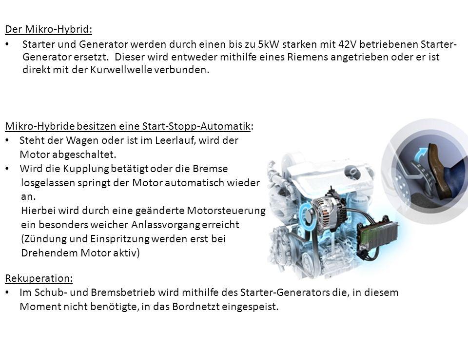 Der Mikro-Hybrid: Starter und Generator werden durch einen bis zu 5kW starken mit 42V betriebenen Starter- Generator ersetzt. Dieser wird entweder mit