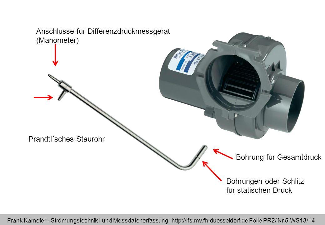 Frank Kameier - Strömungstechnik I und Messdatenerfassung http://ifs.mv.fh-duesseldorf.de Folie PR2/ Nr.5 WS13/14 Prandtl´sches Staurohr Bohrung für G