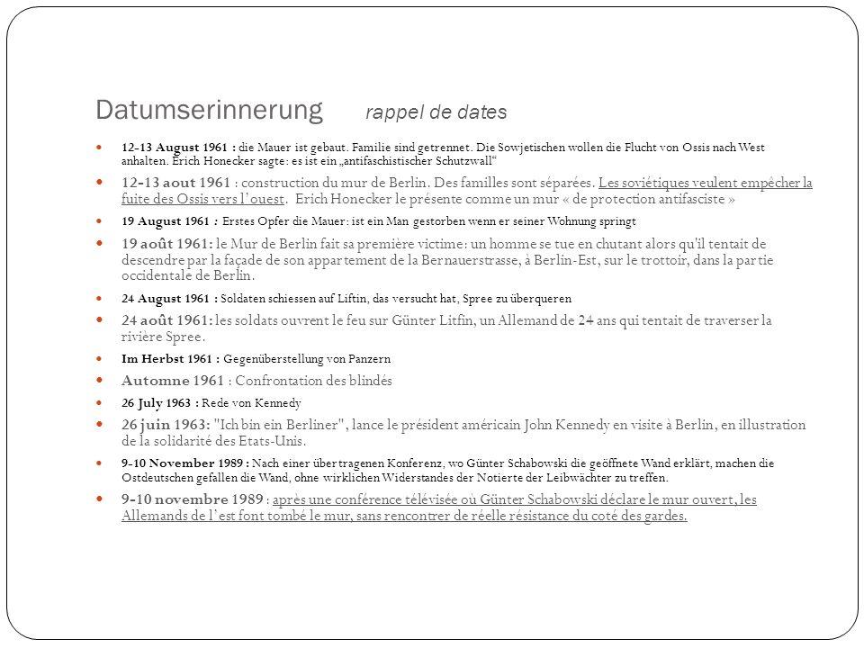 Eine unüberwindliche Mauer un mur infranchissable 1 - Ost- BerlinBerlin-Est 2 – GrenzgebietTerritoire frontalier 3 – Hinterland mauerMur intermédiaire 4 – SignalzaunClôture de signal 5 - Verschiedene Arten von Sperren Différentes sortes de barrages 6 – WachtürmeMirador 7 – LichtsystemEclairage 8 – PostenwegChemin de ronde 9 – KontrollstreifenZone de contrôle (on vérifie les empreintes de pas) 10 - KFZ-SperreBarrage anti char 11 - Letzte Mauer, bekannt als die Mauer Dernier mur, connu comme Mur de Berlin 12 – GrenzeFrontière 13 - West-BerlinBerlin-ouest