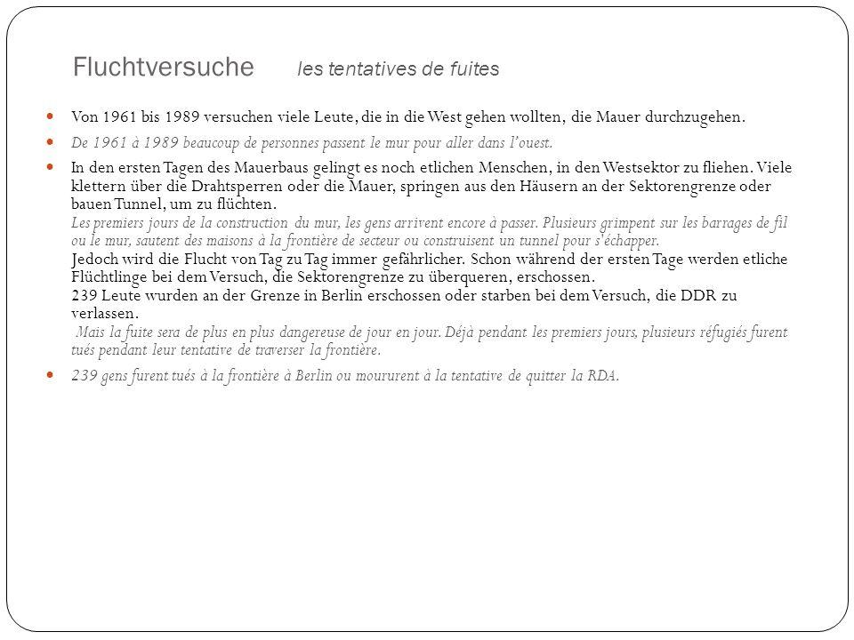 Einzelne mutige und phantasievolle Fluchtgeschichten histoires de fuites amusantes 15.August.1961 - Der erste Volksarmist sprang über die Grenze (Stacheldraht).