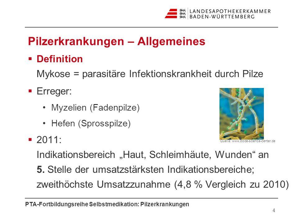 PTA-Fortbildungsreihe Selbstmedikation: Pilzerkrankungen Pilzerkrankungen – Allgemeines Definition Mykose = parasitäre Infektionskrankheit durch Pilze