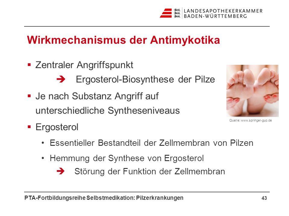 PTA-Fortbildungsreihe Selbstmedikation: Pilzerkrankungen Wirkmechanismus der Antimykotika Zentraler Angriffspunkt Ergosterol-Biosynthese der Pilze Je