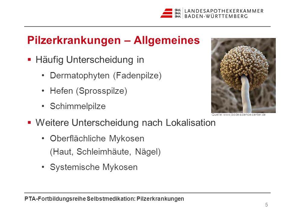 PTA-Fortbildungsreihe Selbstmedikation: Pilzerkrankungen Pilzerkrankungen – Allgemeines Häufig Unterscheidung in Dermatophyten (Fadenpilze) Hefen (Spr