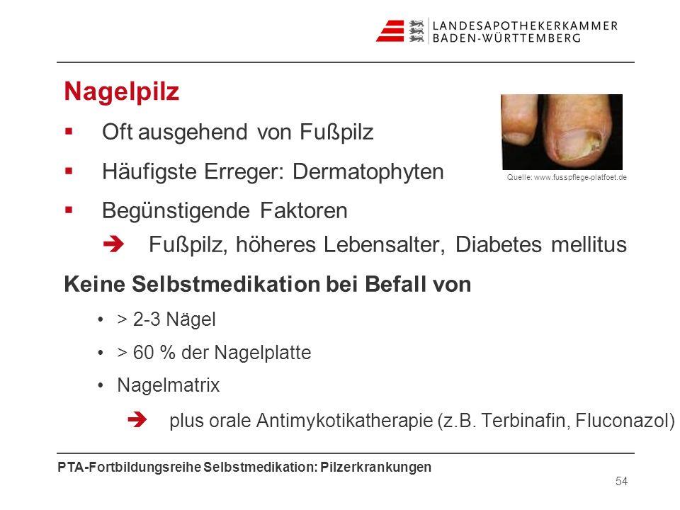 PTA-Fortbildungsreihe Selbstmedikation: Pilzerkrankungen Nagelpilz Oft ausgehend von Fußpilz Häufigste Erreger: Dermatophyten Begünstigende Faktoren F