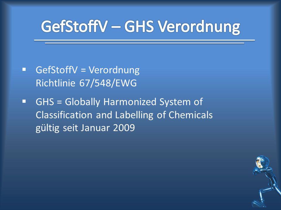 GefStoffV = Verordnung Richtlinie 67/548/EWG GHS = Globally Harmonized System of Classification and Labelling of Chemicals gültig seit Januar 2009