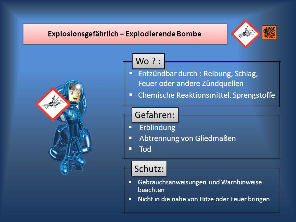 Wo ? : Gefahren: Schutz: Explosionsgefährlich – Explodierende Bombe Erblindung Abtrennung von Gliedmaßen Tod Entzündbar durch : Reibung, Schlag, Feuer