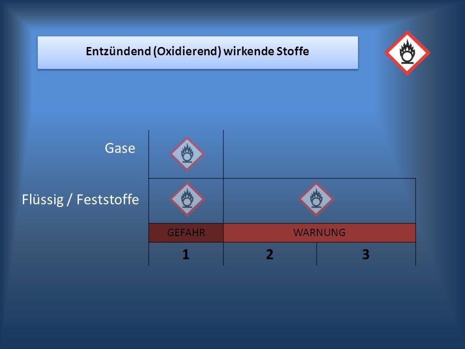 GEFAHRWARNUNG 123 Entzündend (Oxidierend) wirkende Stoffe Gase Flüssig / Feststoffe
