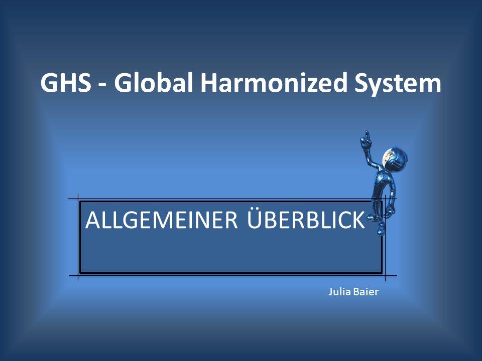 1992 – erste Thematisierung in der UN-Konferenz in Rio de Janeiro Folge: Auftrag zur Entwicklung dem Global Harmonized System (GHS-Verordnung) 2005 – 1.