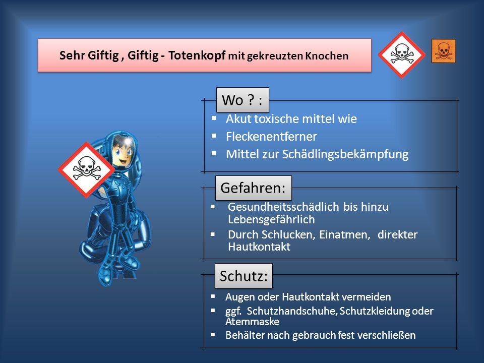 Wo ? : Gefahren: Schutz: Sehr Giftig, Giftig - Totenkopf mit gekreuzten Knochen Akut toxische mittel wie Fleckenentferner Mittel zur Schädlingsbekämpf