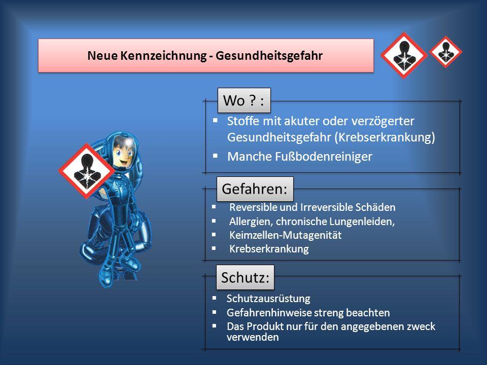 Wo ? : Gefahren: Schutz: Neue Kennzeichnung - Gesundheitsgefahr Stoffe mit akuter oder verzögerter Gesundheitsgefahr (Krebserkrankung) Manche Fußboden