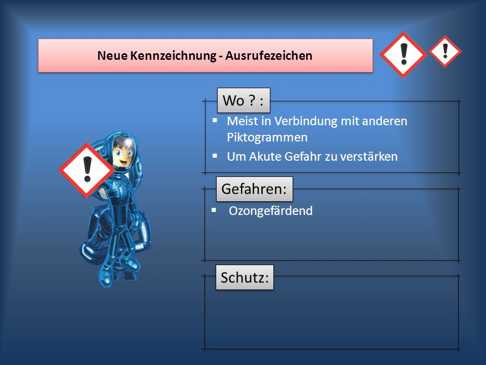 Wo ? : Gefahren: Schutz: Neue Kennzeichnung - Ausrufezeichen Meist in Verbindung mit anderen Piktogrammen Um Akute Gefahr zu verstärken Ozongefärdend