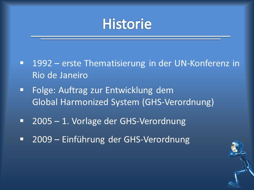 1992 – erste Thematisierung in der UN-Konferenz in Rio de Janeiro Folge: Auftrag zur Entwicklung dem Global Harmonized System (GHS-Verordnung) 2005 –
