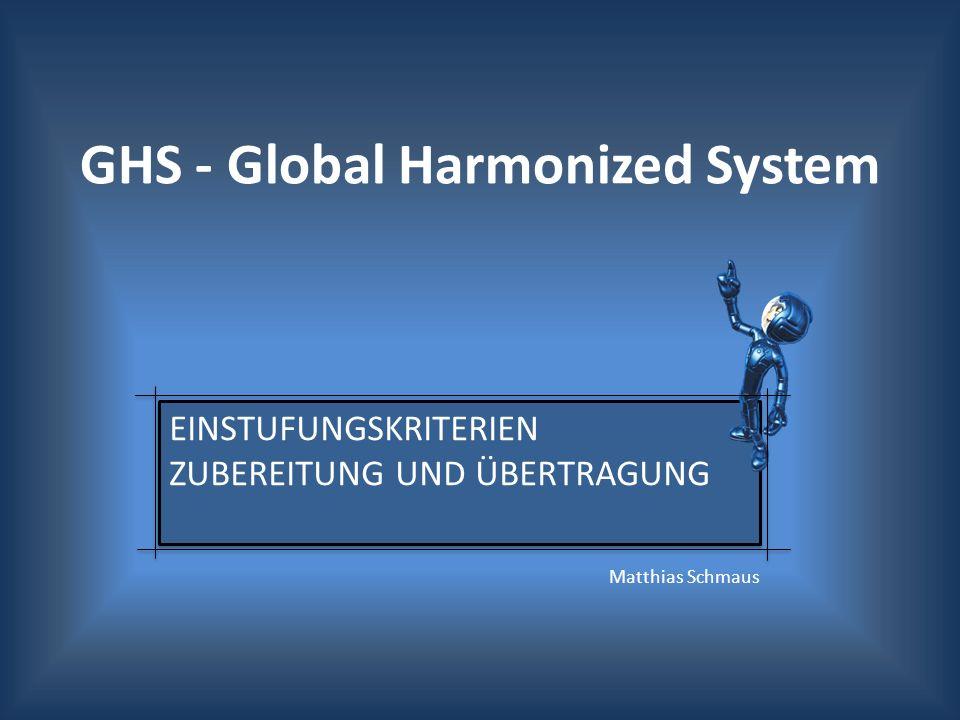 Vorschlag der europäischen Kommission: Einstufung und Kennzeichnung nach GHS GHS-Verordnung ist analog zum bestehenden System der Stoff- und der Zubereitungsrichtlinie Einstufung von Stoffen durch harmonisierte Einstufung Einstufung der übrig gebliebenen Stoffen und Gemische durch Selbsteinstufung