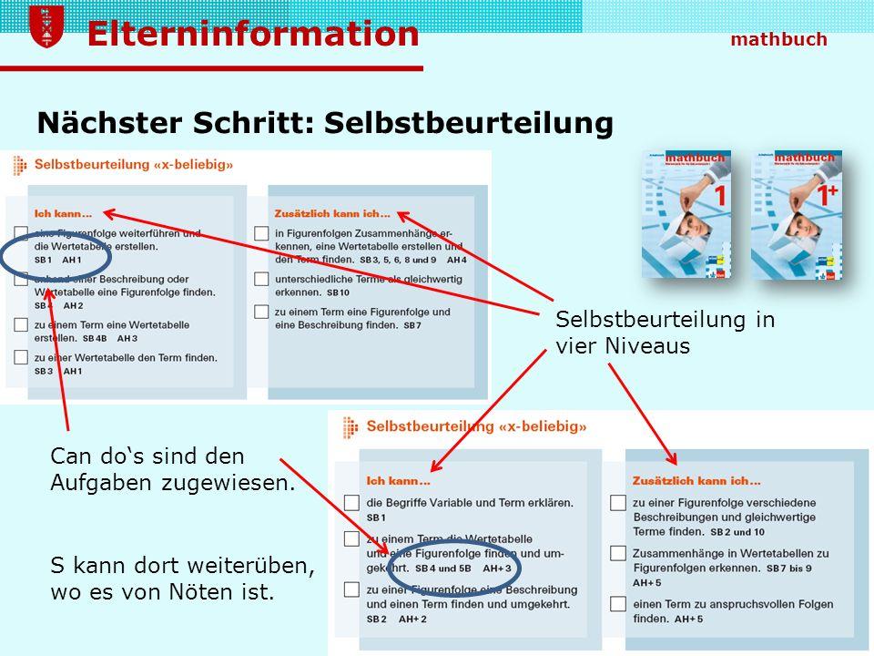 Elterninformation mathbuch Nächster Schritt: Selbstbeurteilung Selbstbeurteilung in vier Niveaus Can dos sind den Aufgaben zugewiesen. S kann dort wei