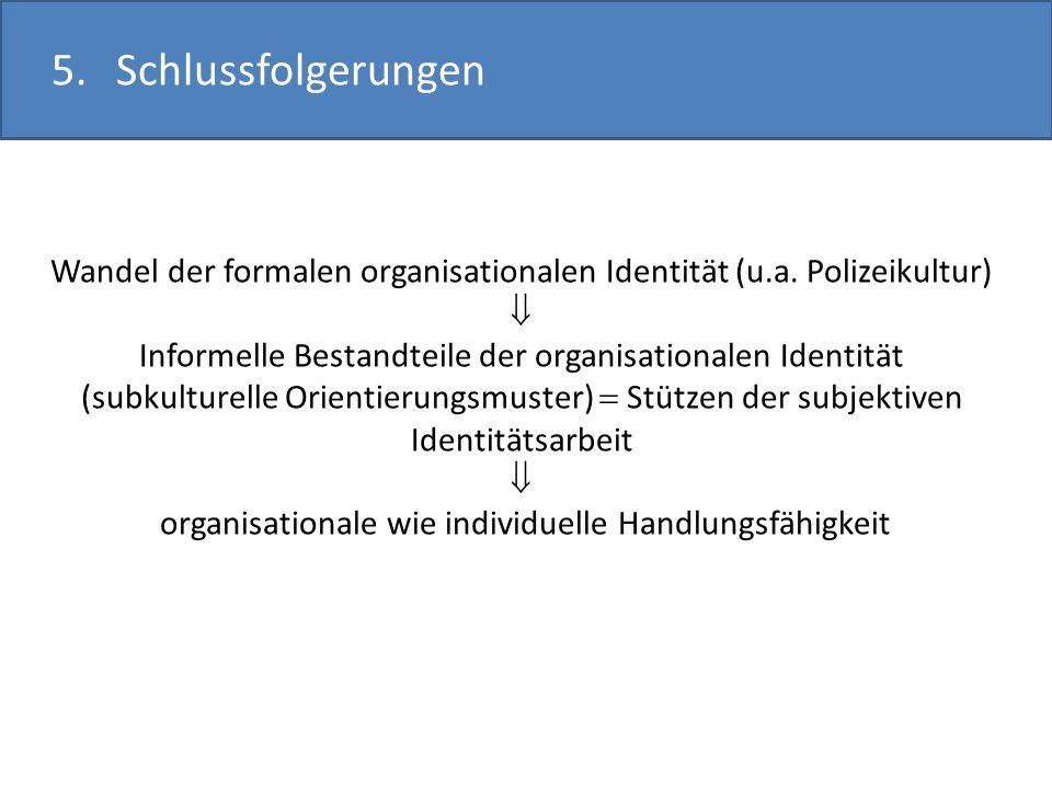 5.Schlussfolgerungen Wandel der formalen organisationalen Identität (u.a. Polizeikultur) Informelle Bestandteile der organisationalen Identität (subku