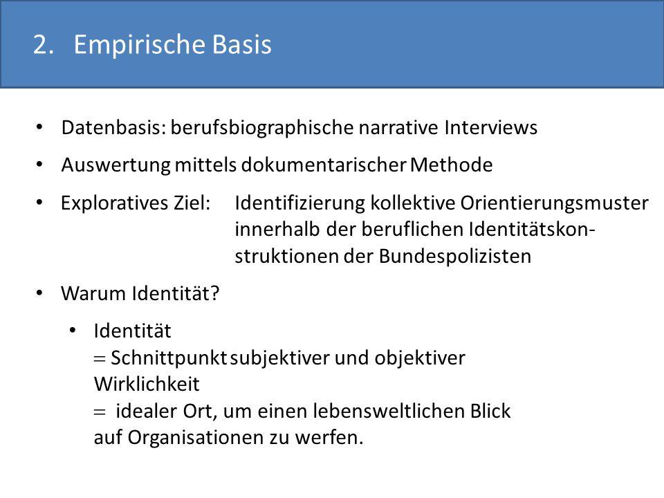 2.Empirische Basis Datenbasis: berufsbiographische narrative Interviews Auswertung mittels dokumentarischer Methode Exploratives Ziel: Identifizierung