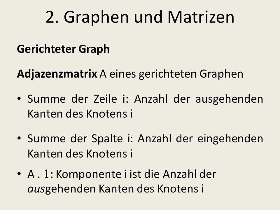 2. Graphen und Matrizen Gerichteter Graph Adjazenzmatrix A eines gerichteten Graphen Summe der Zeile i: Anzahl der ausgehenden Kanten des Knotens i Su