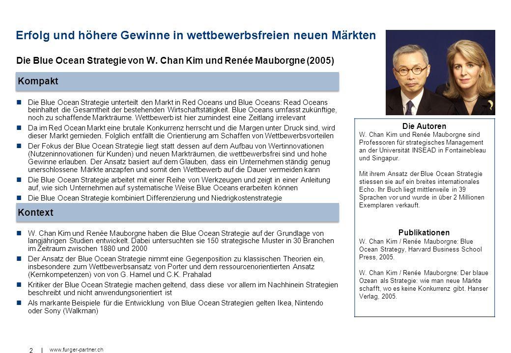 2 www.furger-partner.ch Erfolg und höhere Gewinne in wettbewerbsfreien neuen Märkten Die Blue Ocean Strategie unterteilt den Markt in Red Oceans und B