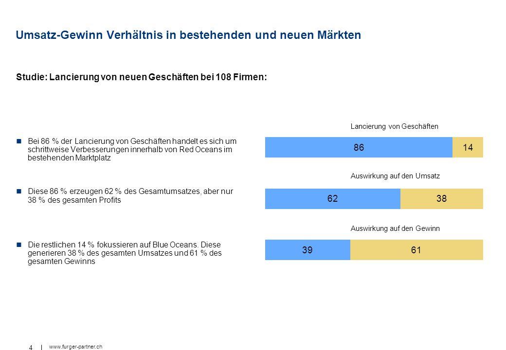 4 www.furger-partner.ch Umsatz-Gewinn Verhältnis in bestehenden und neuen Märkten Studie: Lancierung von neuen Geschäften bei 108 Firmen: Bei 86 % der