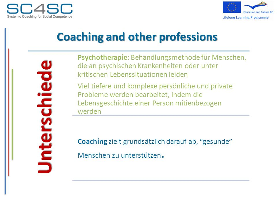Coaching and other professions Unterschiede Psychotherapie: Behandlungsmethode für Menschen, die an psychischen Krankenheiten oder unter kritischen Le