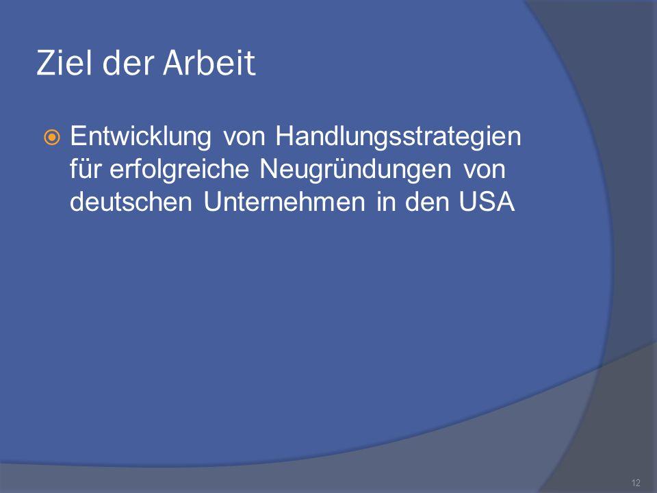 Ziel der Arbeit Entwicklung von Handlungsstrategien für erfolgreiche Neugründungen von deutschen Unternehmen in den USA 12