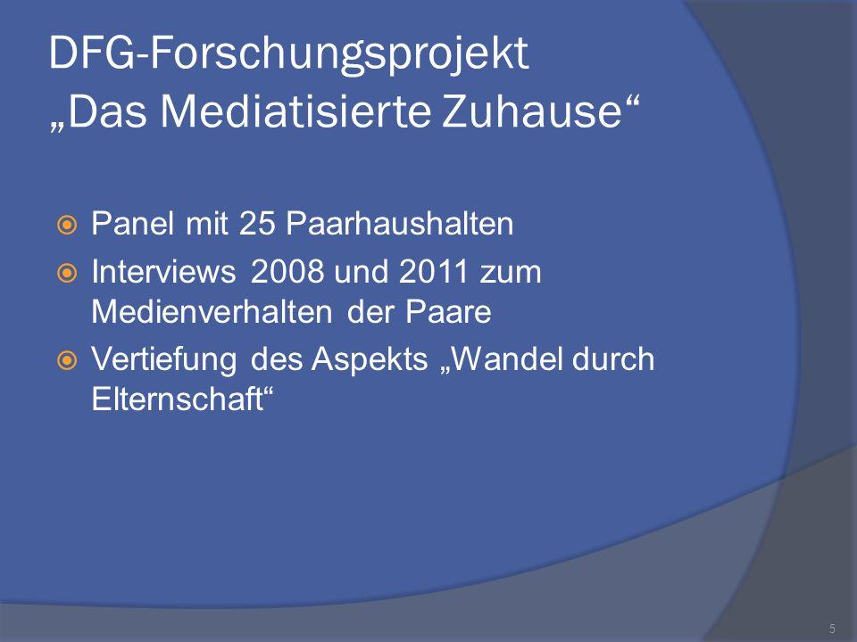 DFG-Forschungsprojekt Das Mediatisierte Zuhause Panel mit 25 Paarhaushalten Interviews 2008 und 2011 zum Medienverhalten der Paare Vertiefung des Aspe