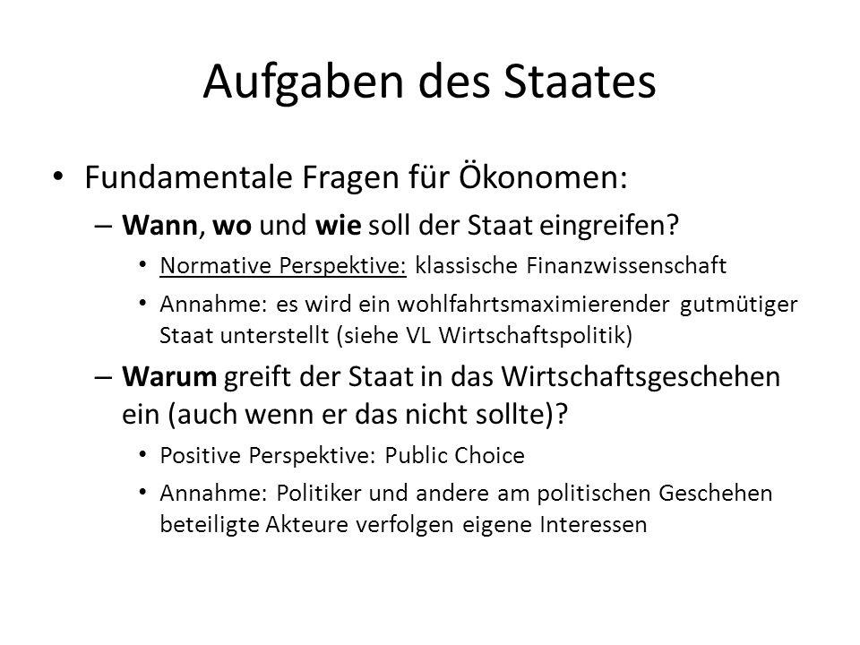 Aufgaben des Staates Fundamentale Fragen für Ökonomen: – Wann, wo und wie soll der Staat eingreifen? Normative Perspektive: klassische Finanzwissensch